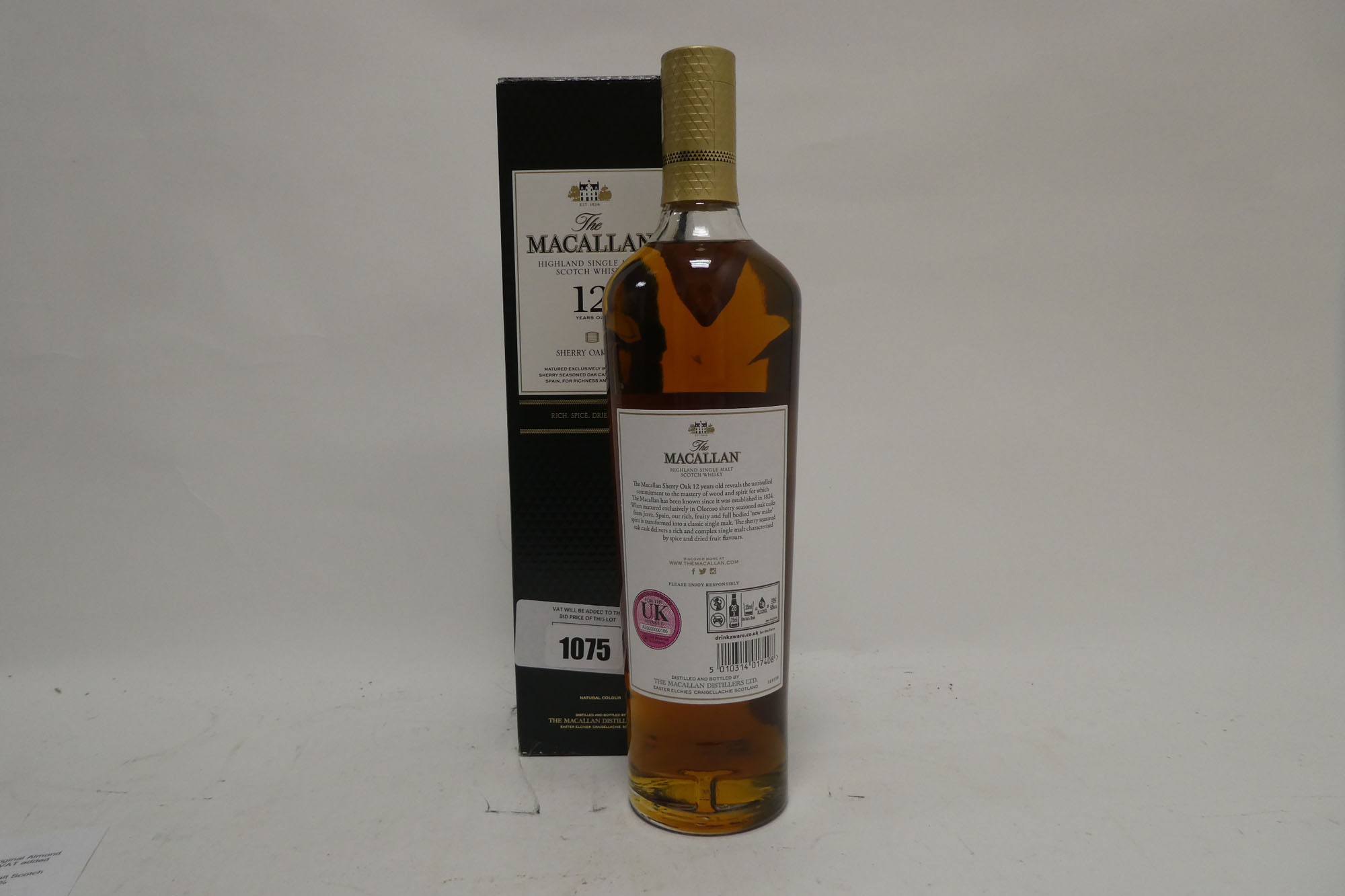 A bottle of The MACALLAN 12 year old Sherry Oak Cask Highland Single Malt Scotch Whisky with box - Image 2 of 2
