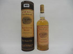 A bottle of Glenmorangie 10 year old Single Highland Malt Scotch Whisky with carton old style