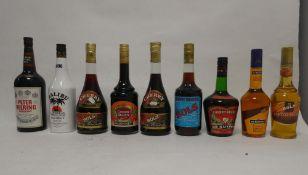 9 bottles, 2x Bols Cherry Brandy 75cl 24%, 1x Bols Cherry Brandy 70cl 24%,