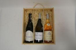 A wooden gift box of 3 wines, 1x La Grande Voute 2019 Red Cotes Du Rhone,