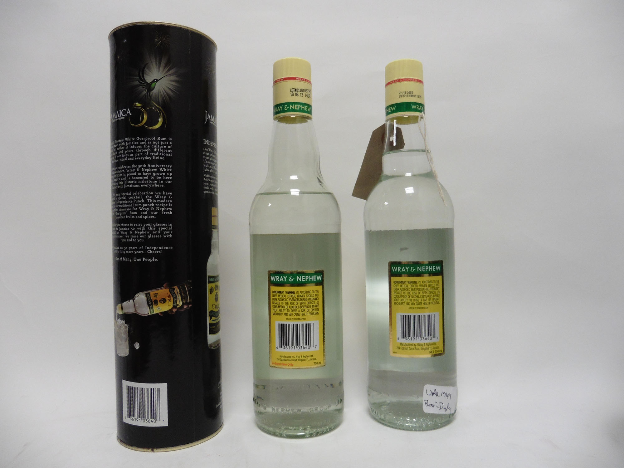 2 bottles of Wray & Nephew White Overproof Rum circa 1980's with 1 box, 75cl 63% - Image 2 of 2