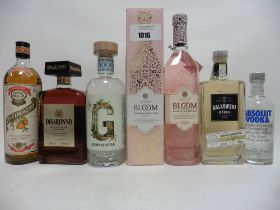 6 bottles, 1x Bloom Jasmine & Rose Gin limited Edition by Joanne Moore with box 70cl 40%,
