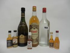 3 bottles plus miniatures, 1x Grant's Standfast Scotch Whisky circa 1980's 75cl 40%,