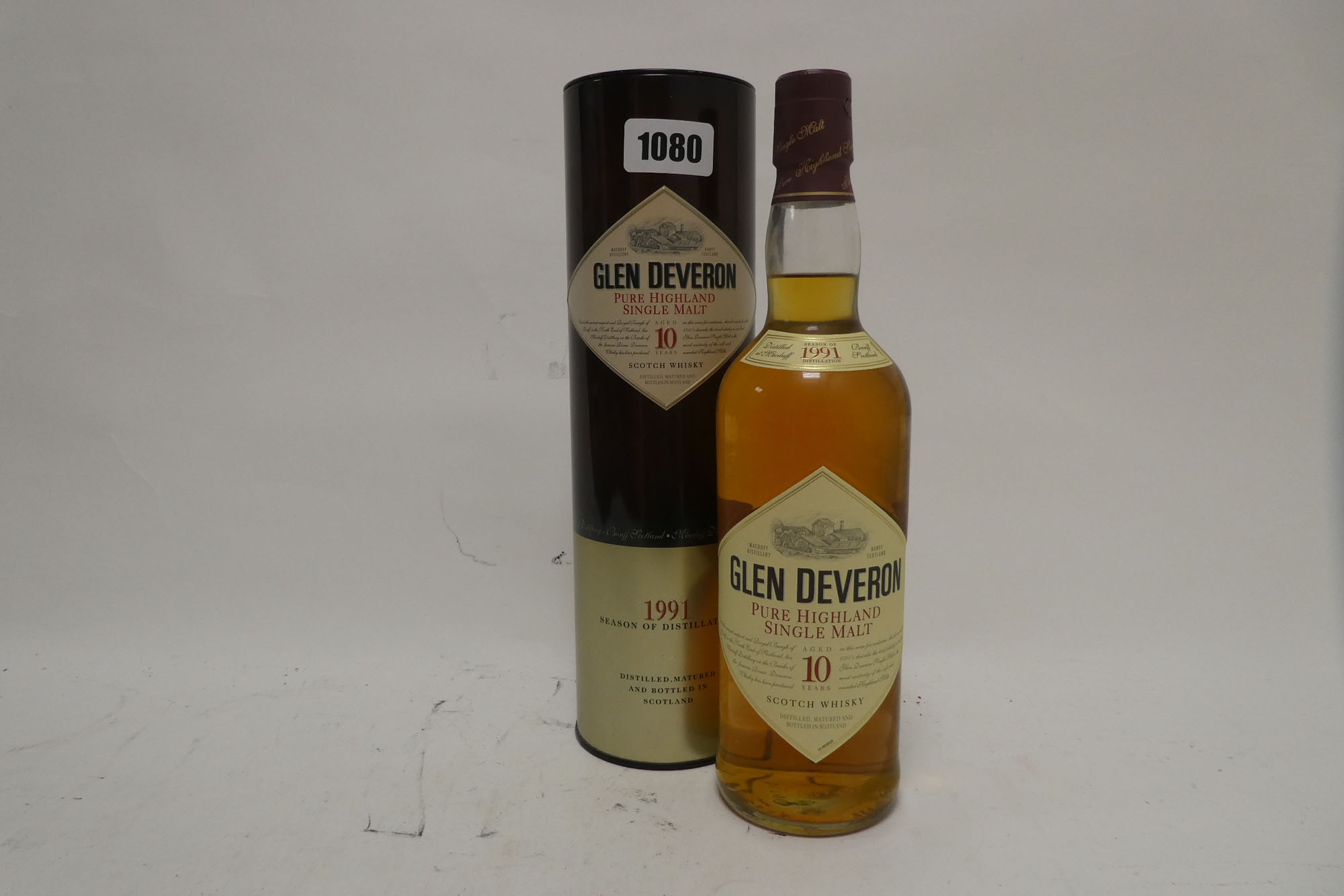 A bottle of Glen Deveron 10 year old Pure Highland Single Malt Scotch Whisky Distilled 1991 with