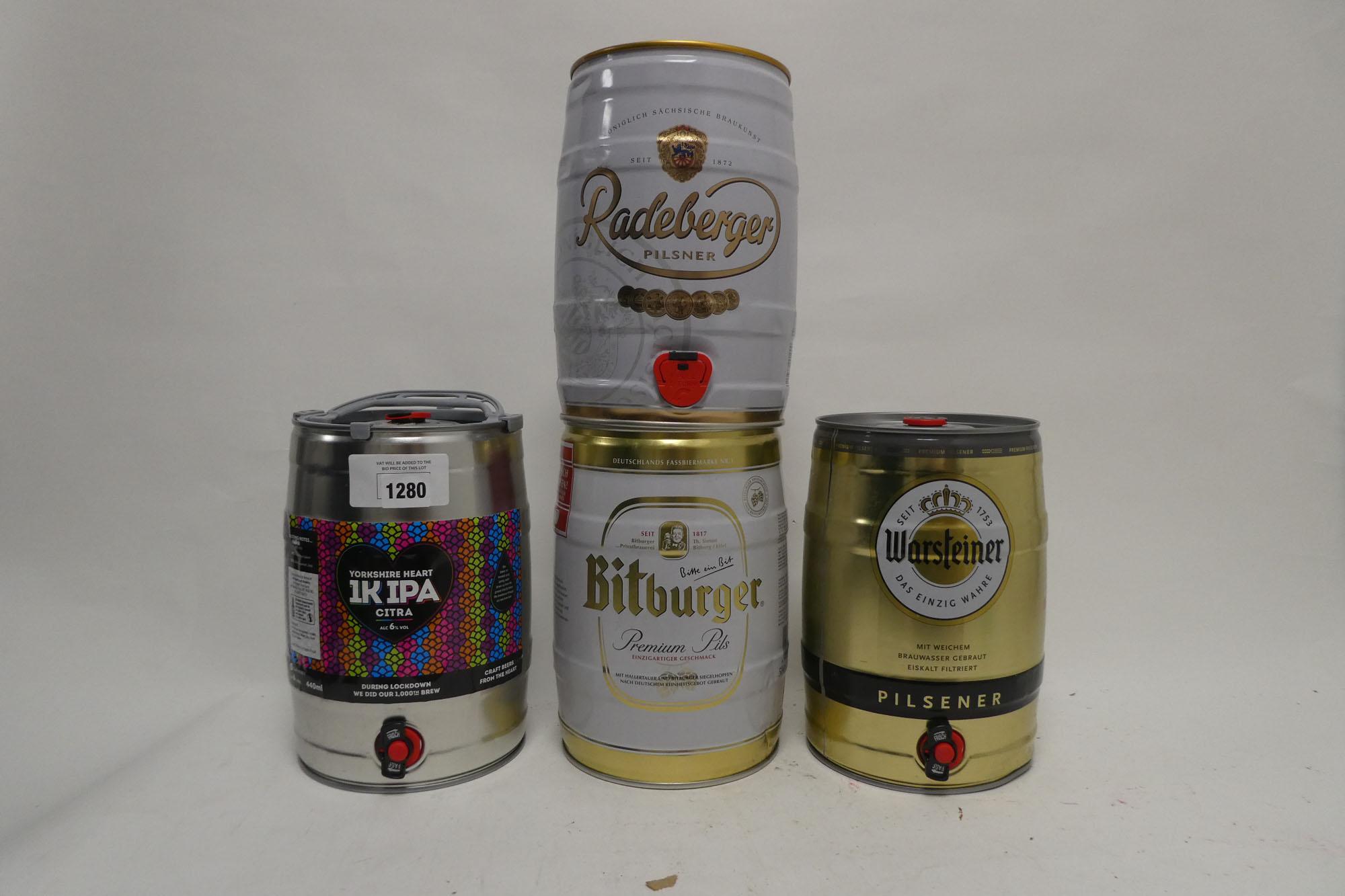4 Kegs of Beer, 1x Yorkshire Heart 1K IPA Citra 4.4litre 6%, 1x Bitburger Premium Pils 5 litre 4.