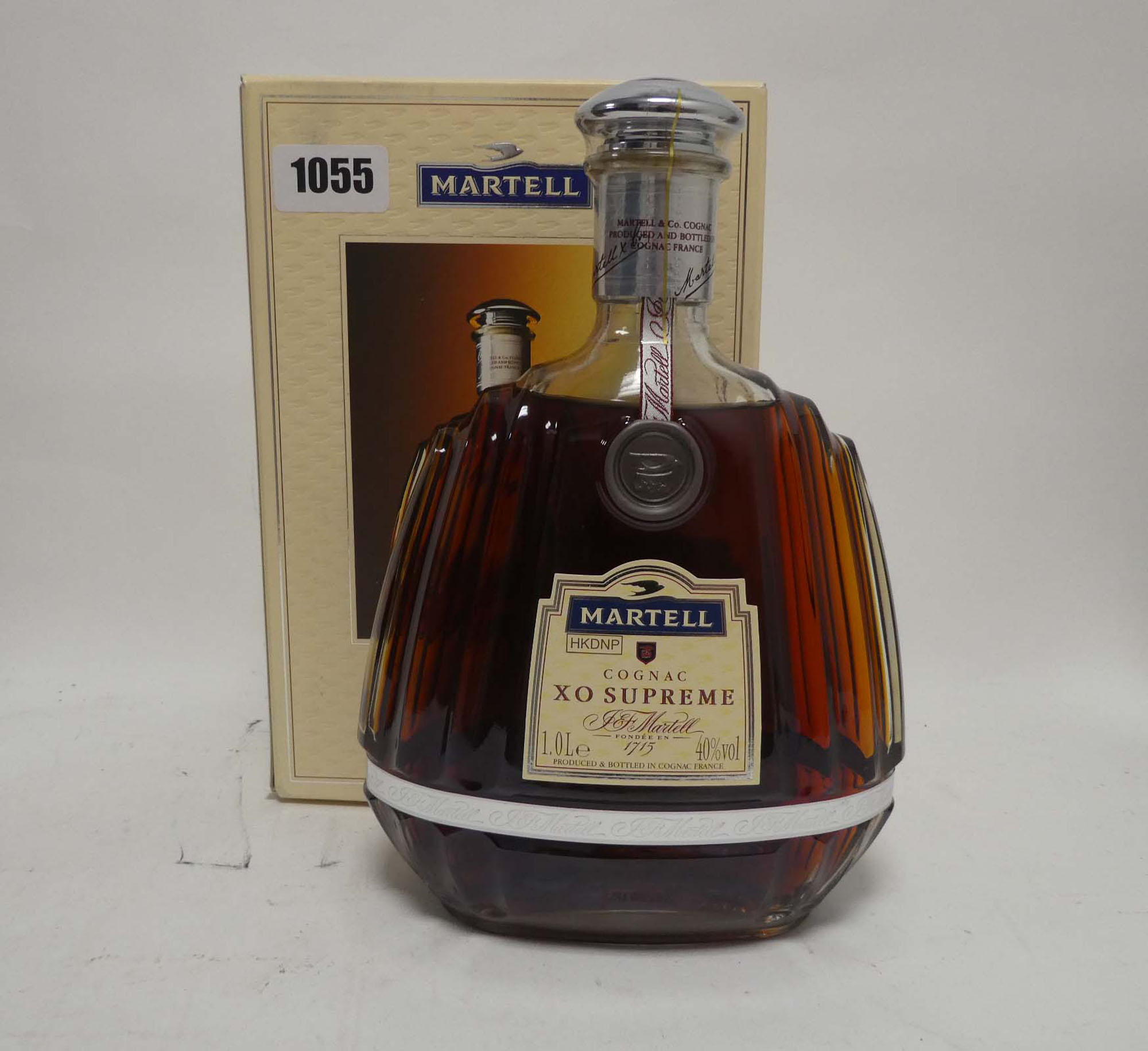 A bottle of J&F Martell XO Supreme Cognac with box old style bottle 1 litre 40%