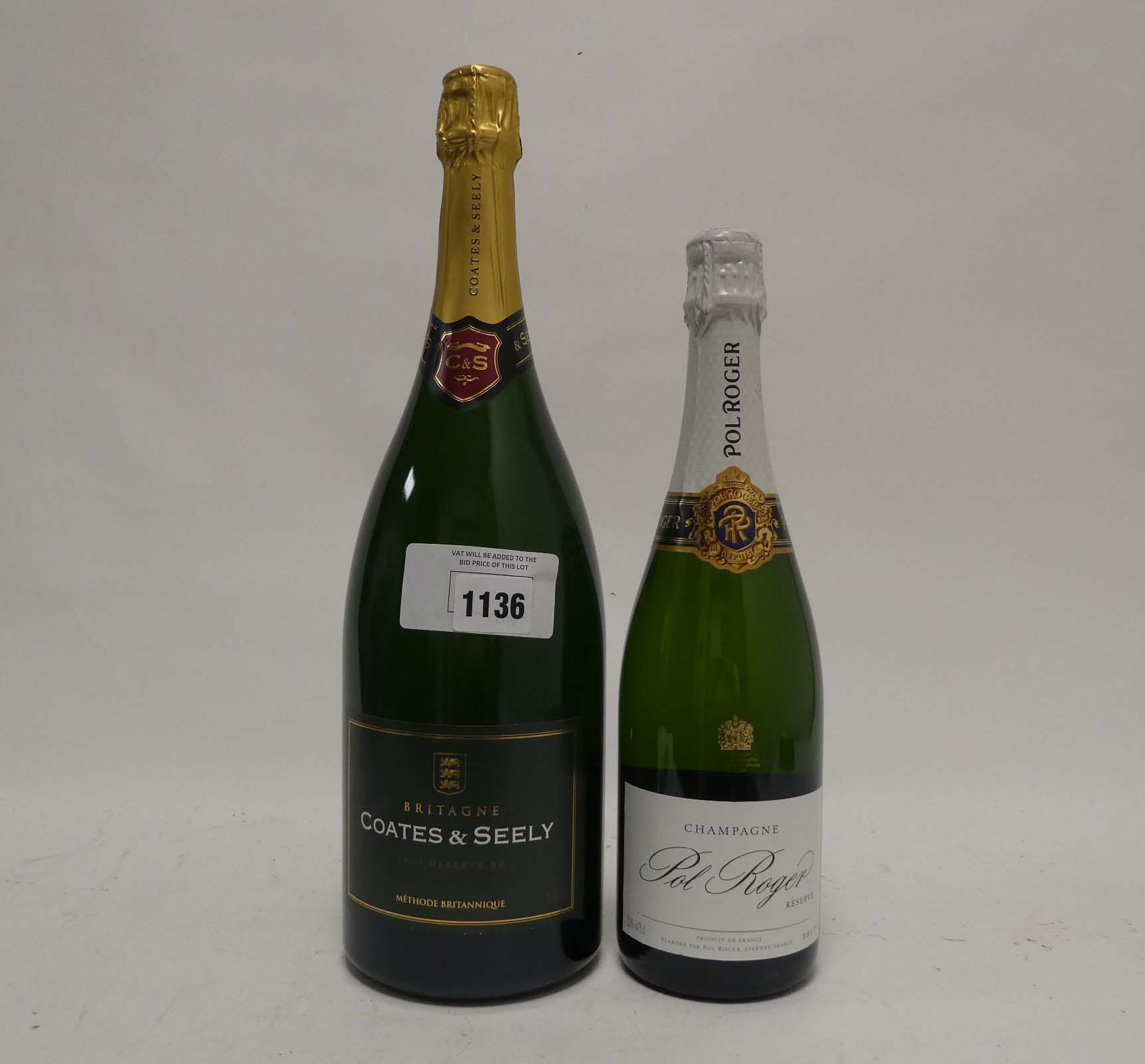 2 bottles, 1x Magnum of Coates & Seely Britagne Brut Reserve NV Methode Britannique 150cl 11.