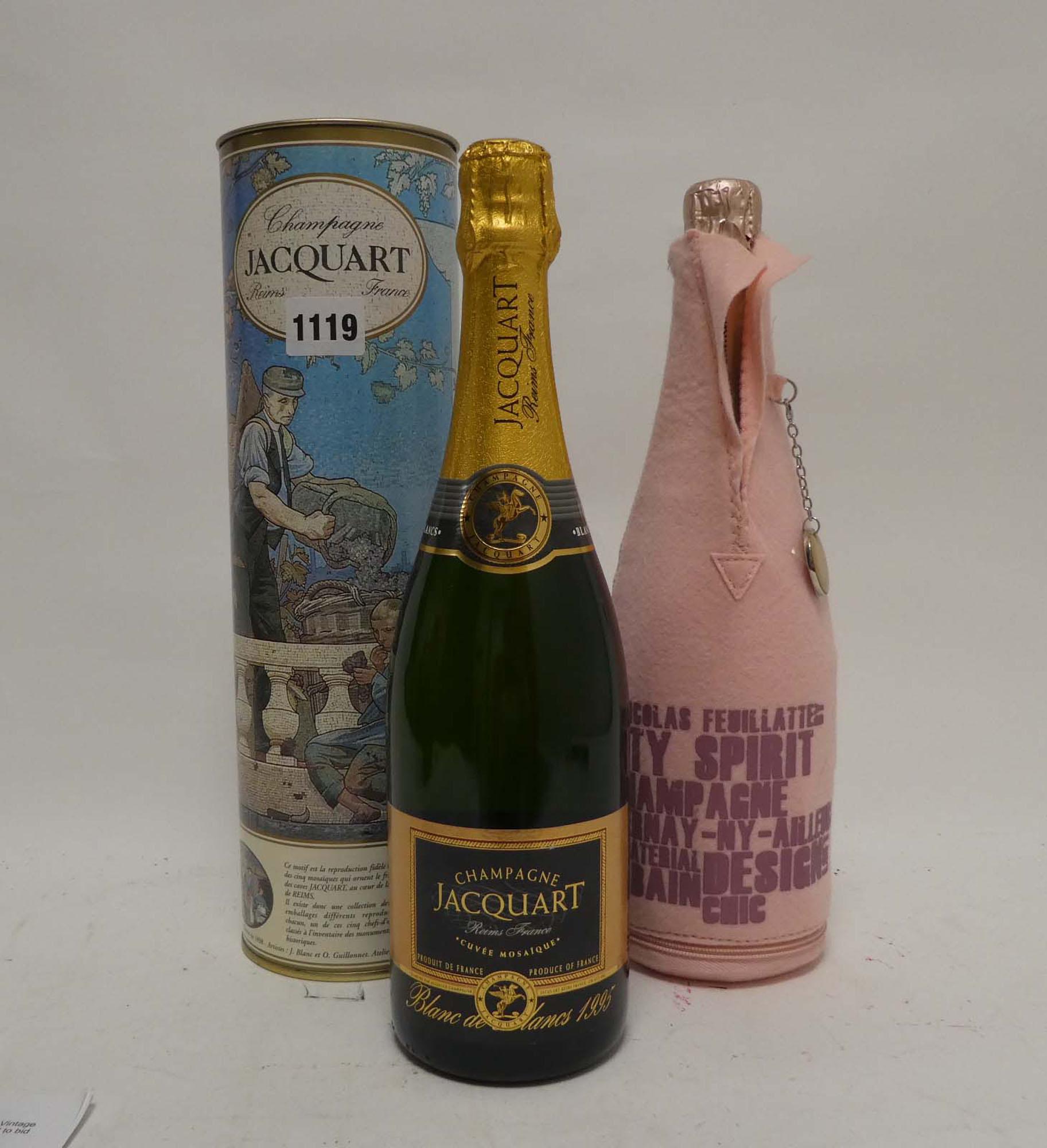 2 bottles, 1x Jacquart Cuvee Mosaigue Blanc de Blancs 1995 with carton 75cl 12.