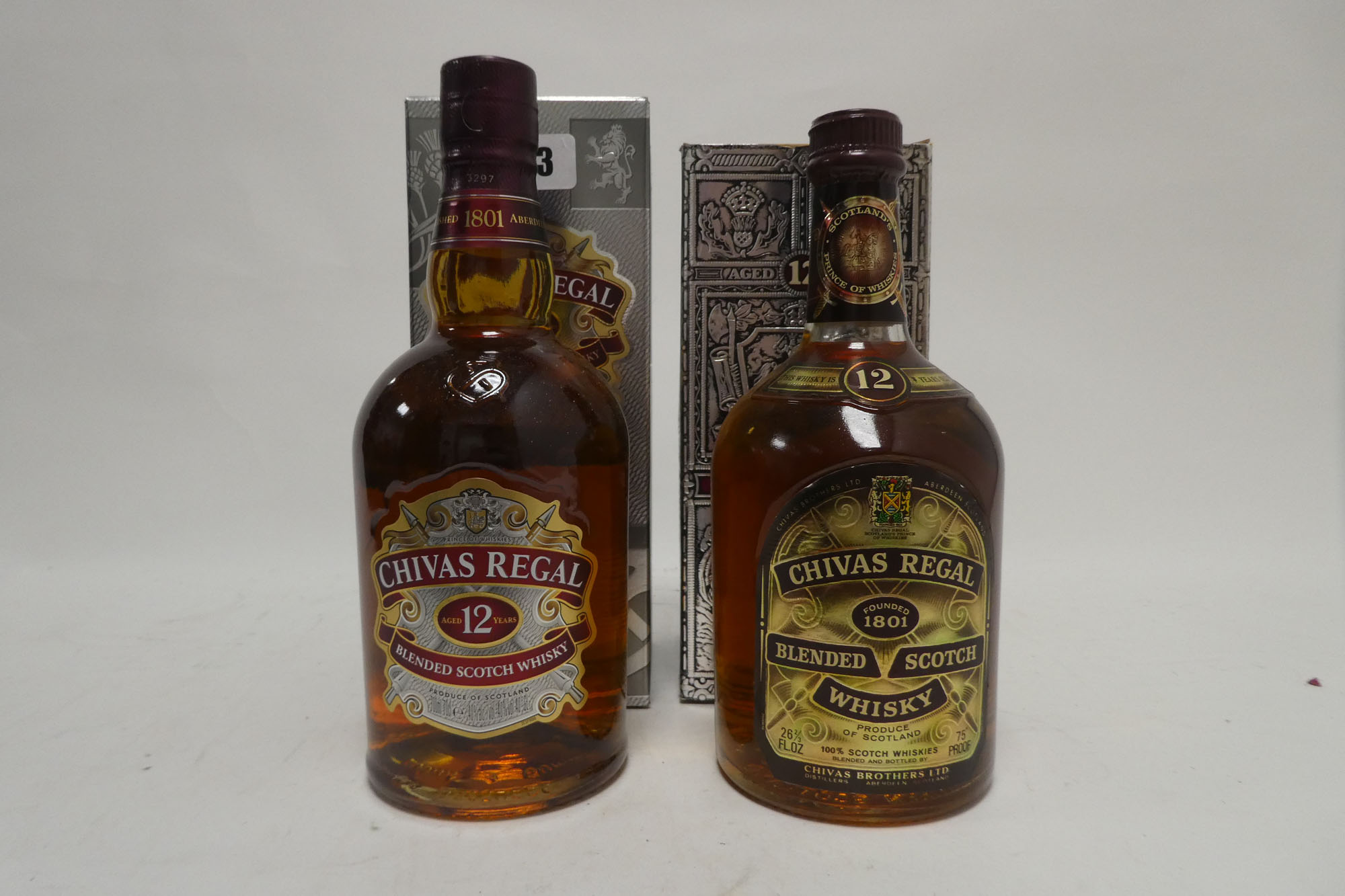 2 bottles of Chivas Regal 12 year old Scotch Whisky with boxes,