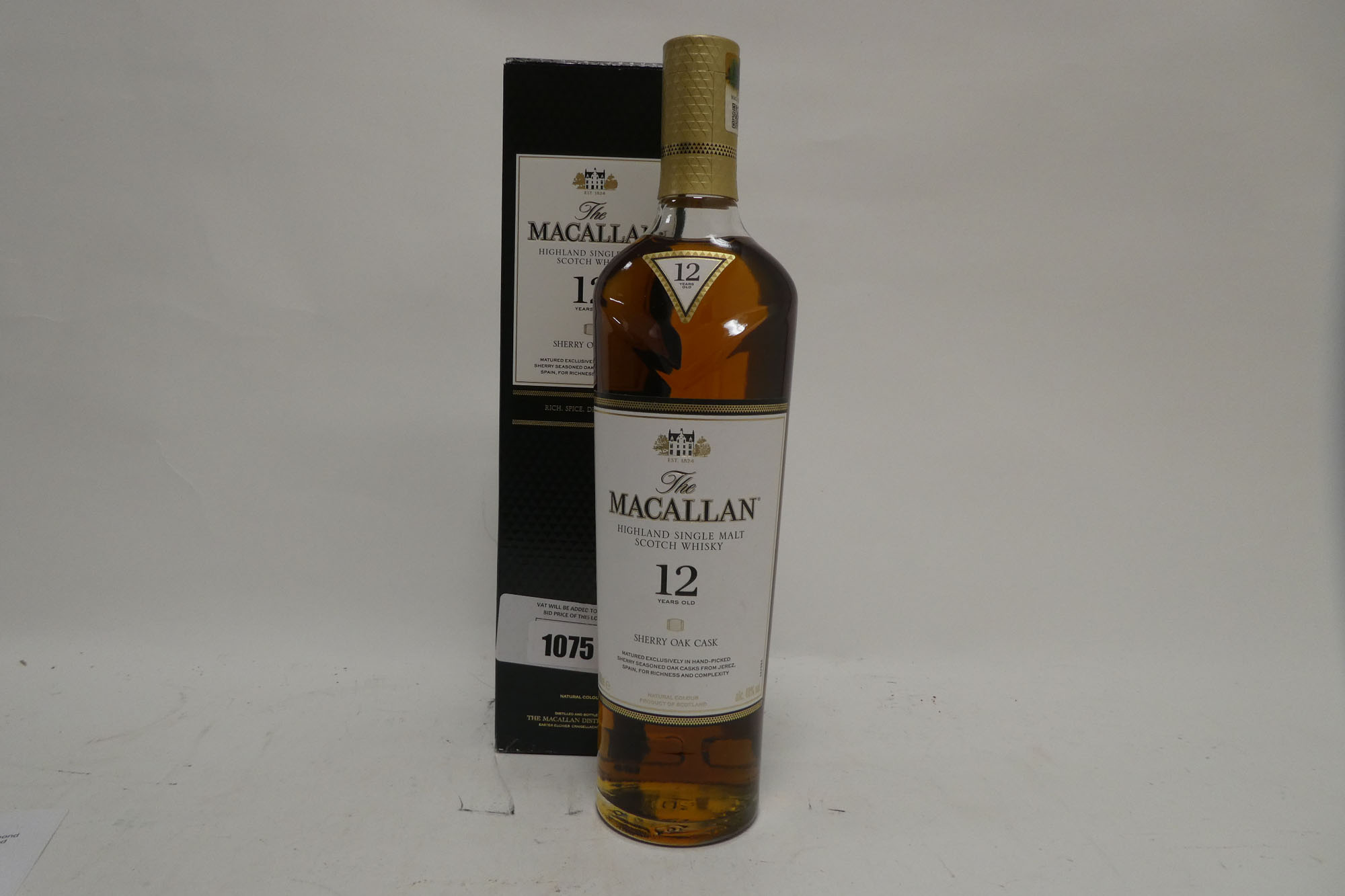 A bottle of The MACALLAN 12 year old Sherry Oak Cask Highland Single Malt Scotch Whisky with box