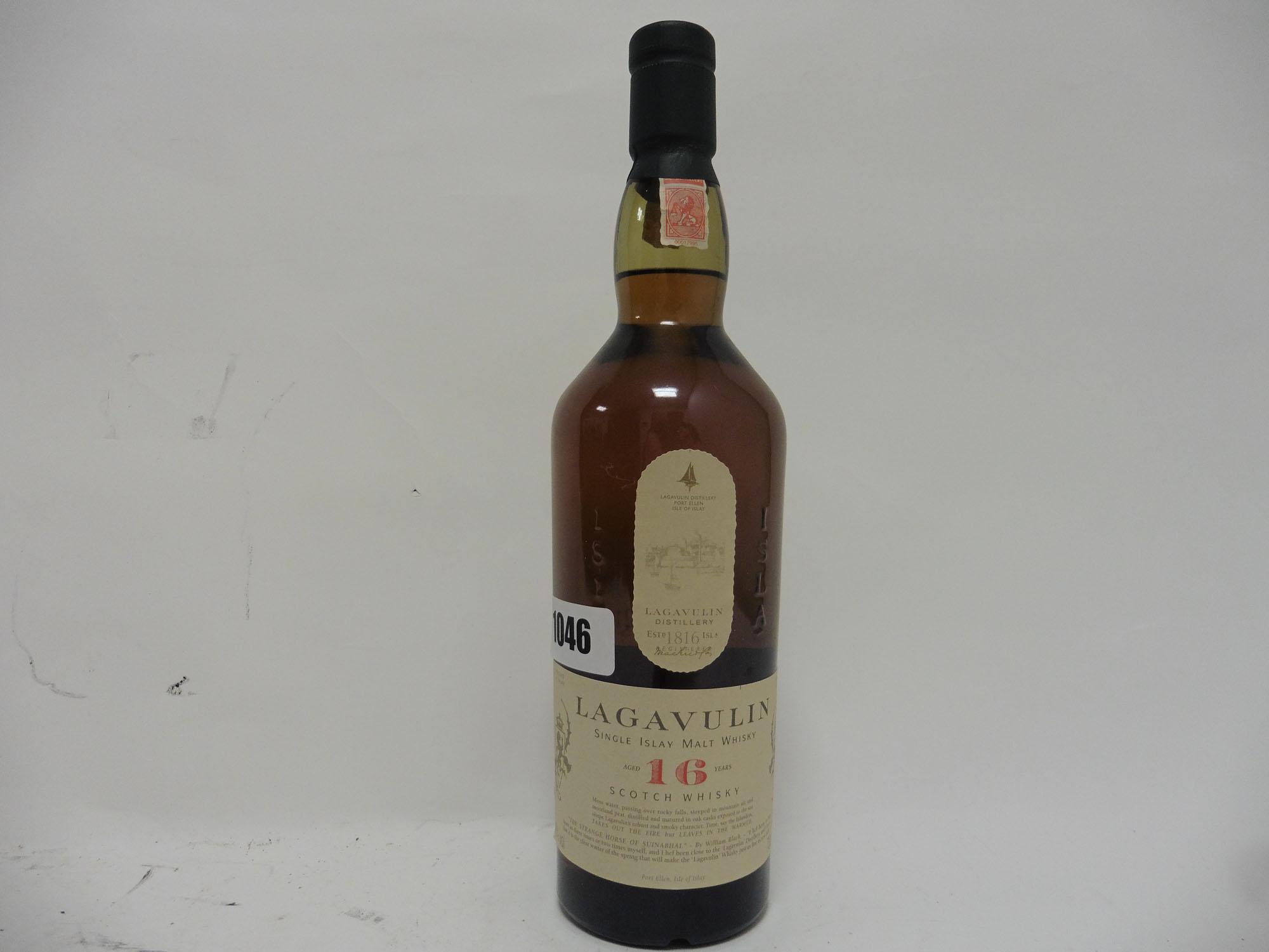 A bottle of Lagavulin 16 year old Single Islay Malt Scotch Whisky 70cl 43%