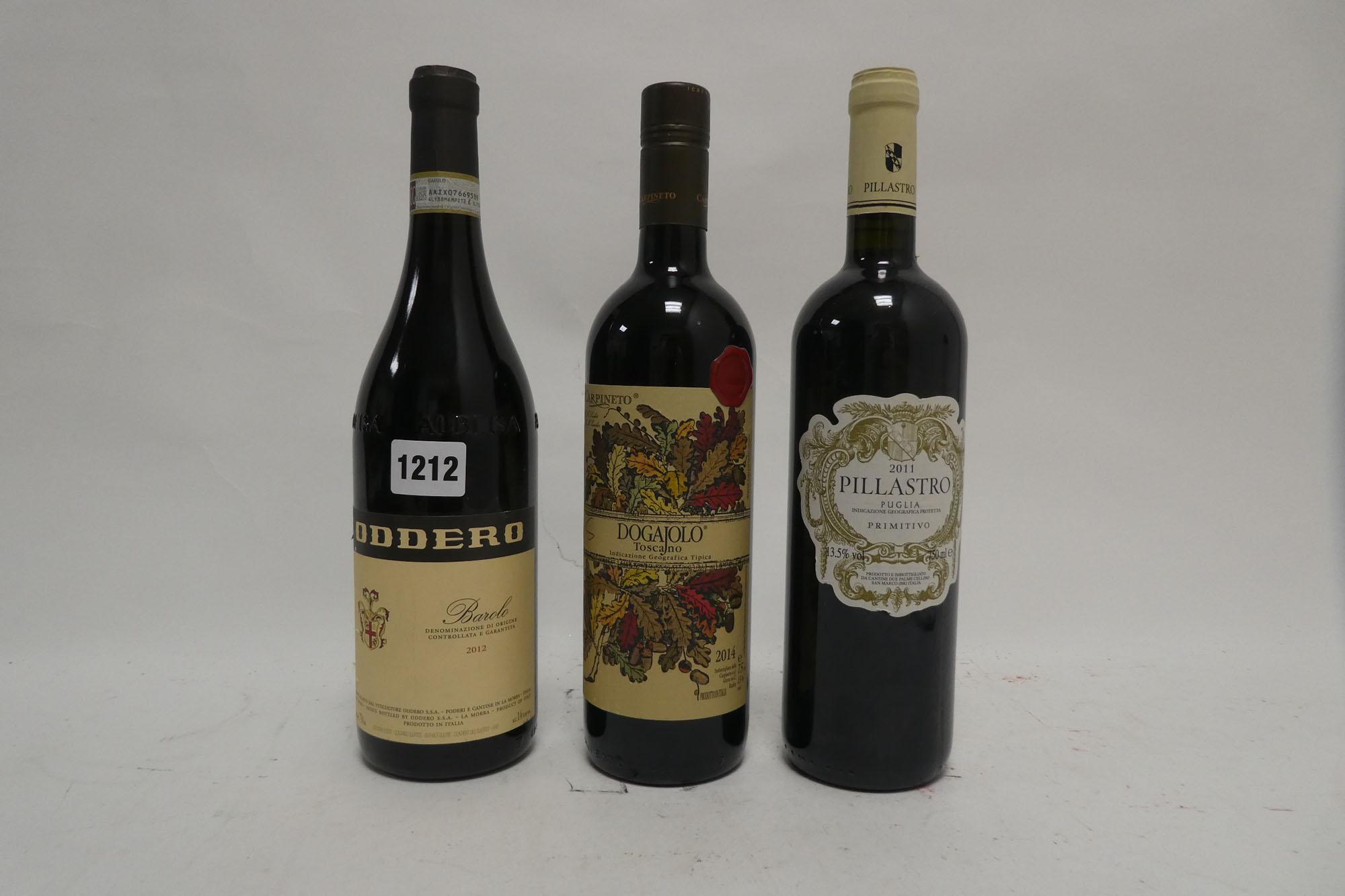 3 bottles, 1x Oddero 2012 Barolo DOCG,