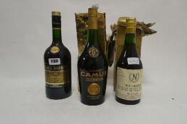 3 bottles, 1x Camus Celebration Cognac with water damaged box,