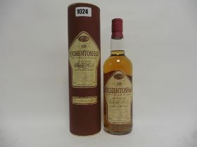 A bottle of Auchentoshan 10 year old Lowland Single Malt Scotch Whisky with carton old style circa