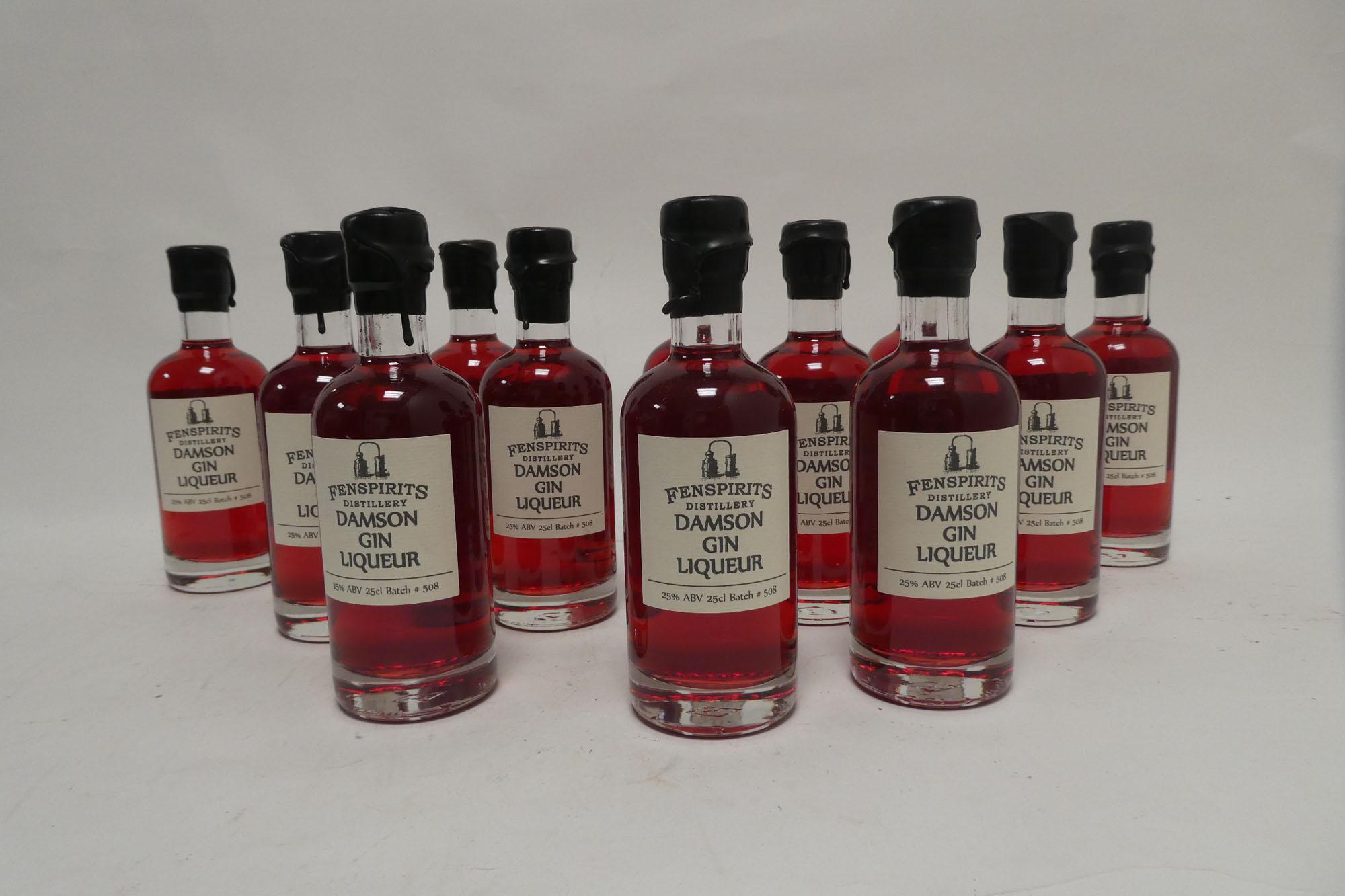 12 small bottles of Fenspirits Distillery Damson Gin Liqueur Batch 508 25cl 25% each (Note VAT
