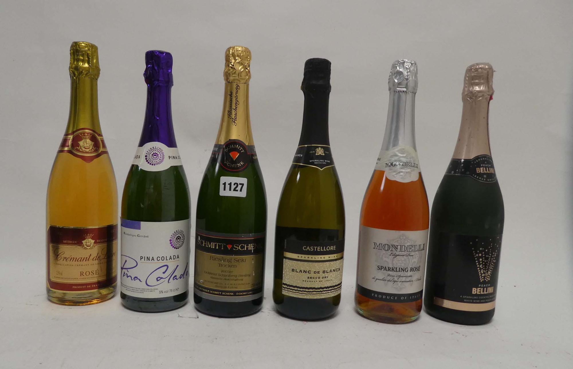 6 bottles, 1x Schmitt Schenk Riesling Sekt Trocken 2003, 1x Castellore Blanc de Blancs Secco Dry,