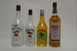 4 bottles, 1x Morgan's Spiced Carribean Rum 1 litre 35%,