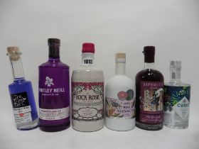 6 assorted bottles of gin, 1x Rock Rose Old Tom Pink Grapefruit Gin vintage 2020 batch 7 no.