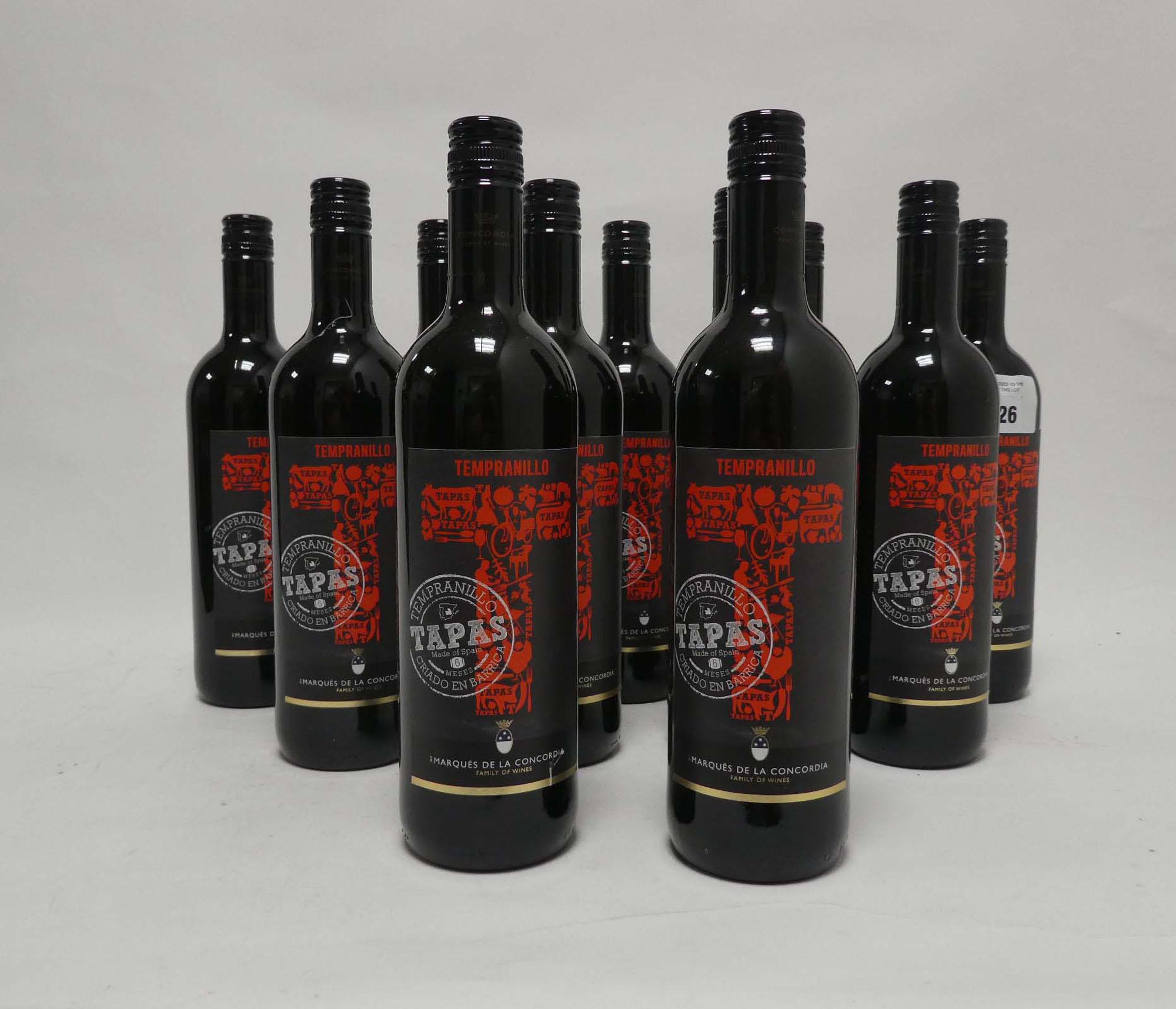 11 bottles of Marques De La Concordia Tapas Tempranillo vino de la Tierra de Castilla (Note VAT
