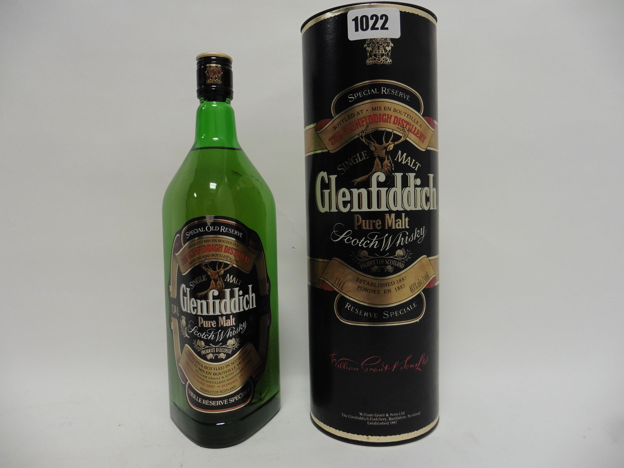 A bottle of Glenfiddich Special Old Reserve Pure Single Malt Scotch Whisky with carton,