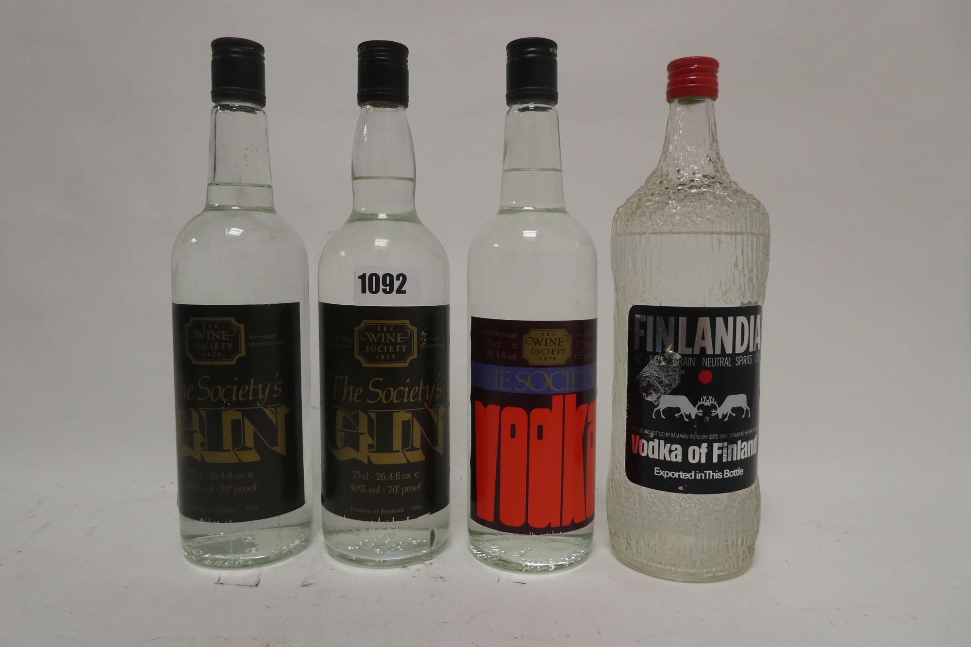 4 bottles, 2x The Society's Gin circa 1970s 75cl 26.