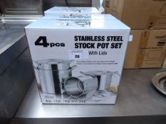 (459) 4 piece stainless steel stockpot set with lids