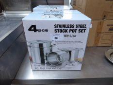 (458) 4 piece stainless steel stockpot set with lids