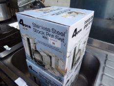 4-piece stainless steel stock pot set