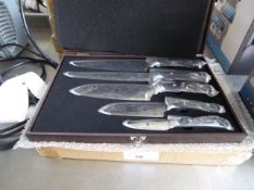 Case of 5 Kyoto Damascus knives in presentation box