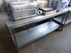 180cm stainless steel preparation table with shelf under on castors