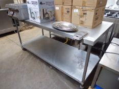 180cm stainless steel preparation table with shelf on castors
