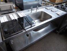 180cm stainless steel single bowl sink with tap set shelf on castors