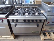 90cm gas Meerwood Vulcan Commodore 2000 6 burner cooker with large single door oven under
