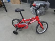 Small childs red Ridgeback bike with stabilisers