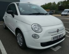 Fiat 500 Pop in white, registration plate KY10 BFJ, first registered 31.07.2010, 3 door hatchback,