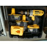 Dewalt 18V battery drill with 3 batteries and charger
