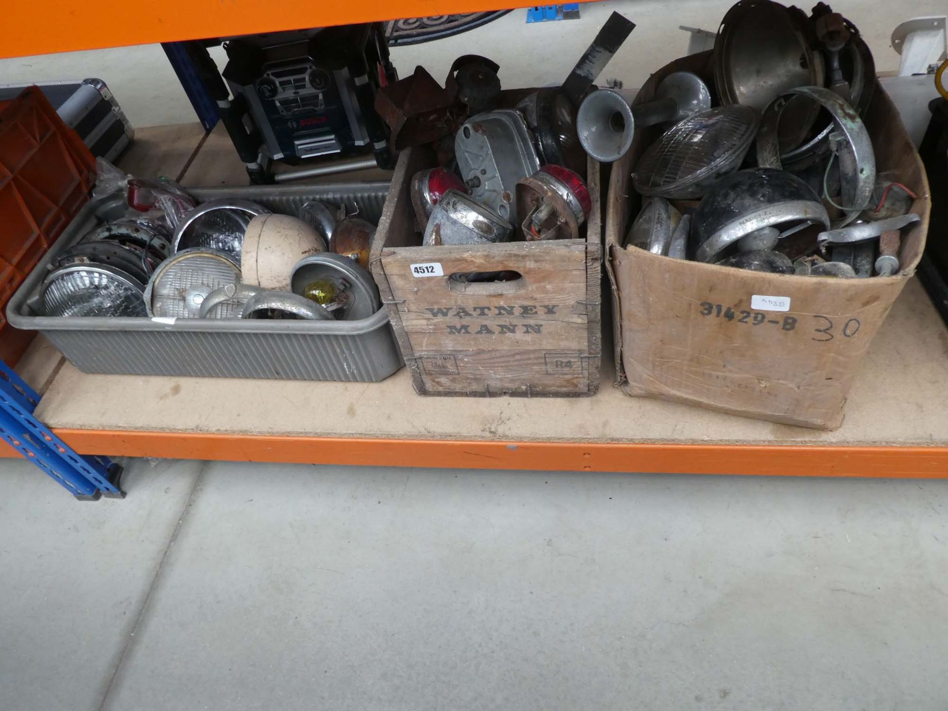 3 large boxes of vintage car lights and spares
