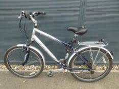 Blue and silver Trek bike
