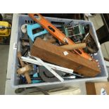 Box of assorted tools incl. spirit level and marking gauges, wood plane, hand saw etc.