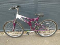 Purple and white Olympus suspension bike