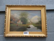 Oil on board - Canal with buildings and figure