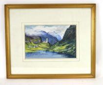 321 (4/6) F.. K.. Fitzgerald,'Eidfjord, Norway',signed,watercolour,19.5 x 30 cm