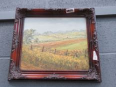 Peter Gladman oil on board - Fields with fence