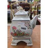 Modern floral decorated Chinese teapot on stand