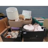 6 boxes containing table lamps, Denby and Poole crockery, stainless steel tea service, tumblers