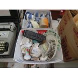 2 boxes containing blue and white Colclough and Indian tree crockery