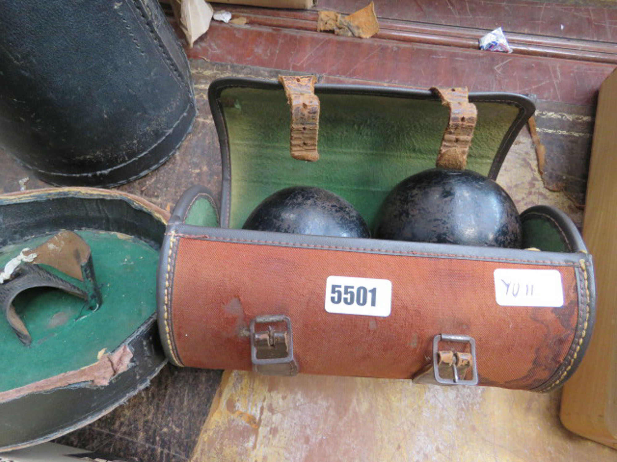 Case containing 2 lawn bowls