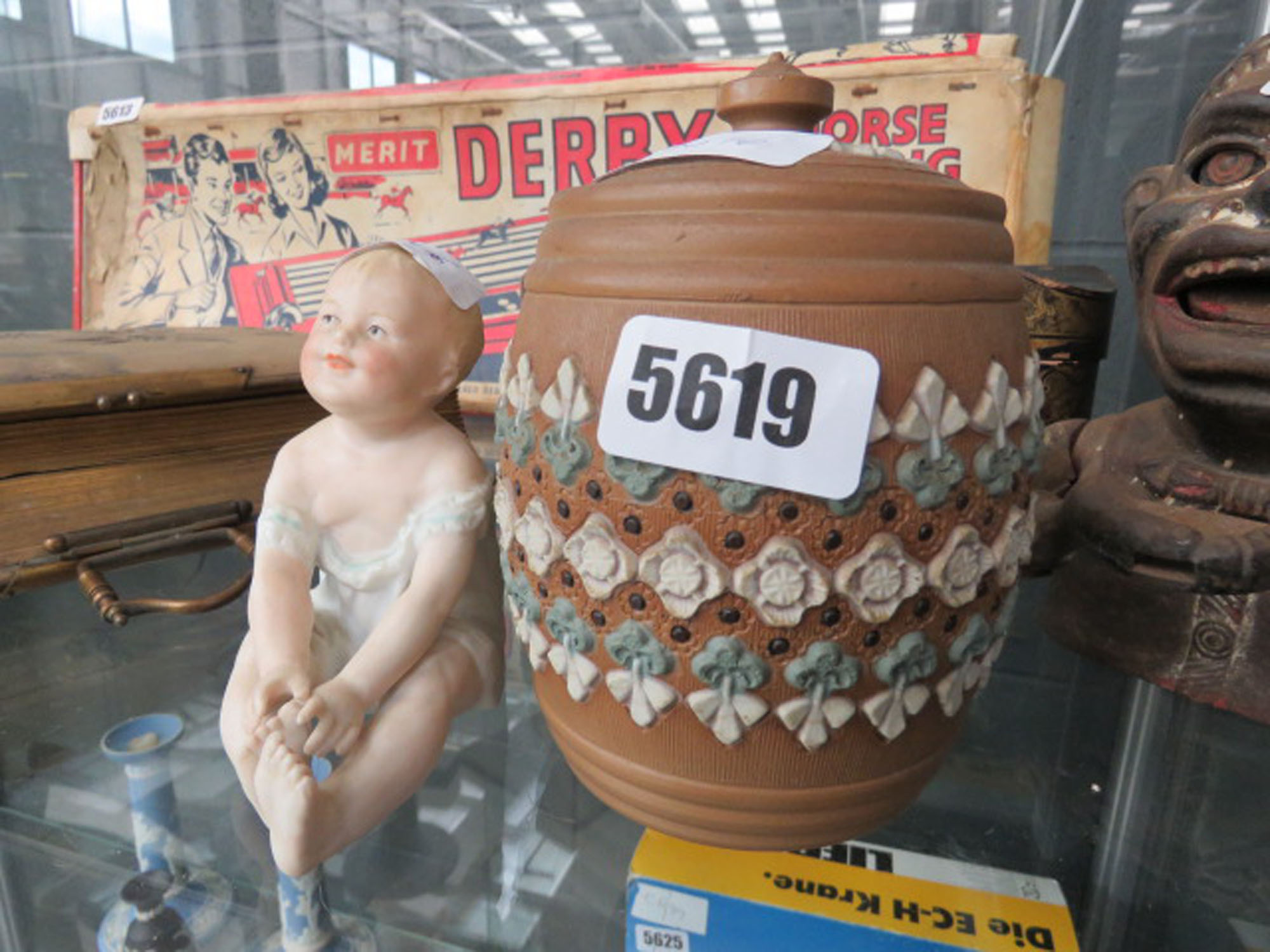 Tobacco jar plus a German figure of a young girl
