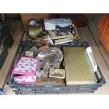 2 boxes containing silver plate, prints, brassware and ornamental figures