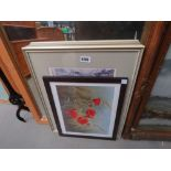 Print of puppies, David Green Bedford print, watercolour of a city scape plus Bedford Embankment